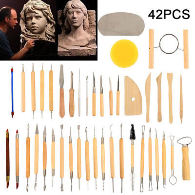42PC Sculpting Carving Pottery Tools Carvers Clay Polymer Modeling DIY Sculpture