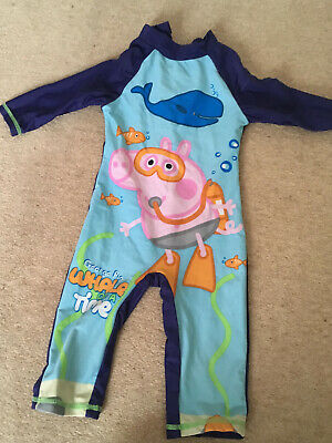 George Pig Long Leg & Long Sleeve Swimsuit Age 2-3. Good Condition