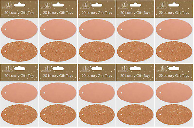 BULK PRICE - Oval Luxury Glitter Christmas Xmas Tags Rose Gold - Pack of 200