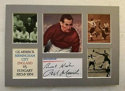 GIL MERRICK BIRMINGHAM CITY ENGLAND vs HUNGARY LEGEND A4 SIGNED PICTURE DISPLAY