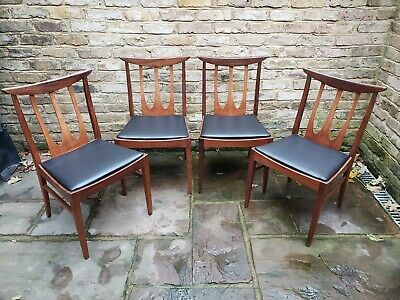 London: 4 Vintage G Plan Brasilia teak dining chairs, mid century, black vinyl