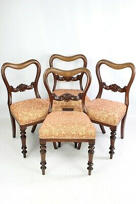 Set 4 Victorian Mahogany Balloon Back Chairs - Antique Dining Kitchen Chairs