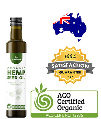 Hemp Seed Oil Certified Organic Cold Pressed Unrefined Australian Plant Oil