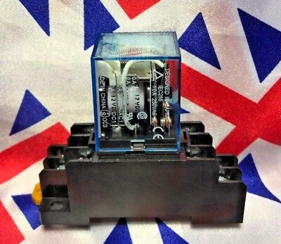 ⭐ 240v AC 8 Pin Coil General Purpose Relay DPDT with Socket Base Included ⭐ UK ⭐