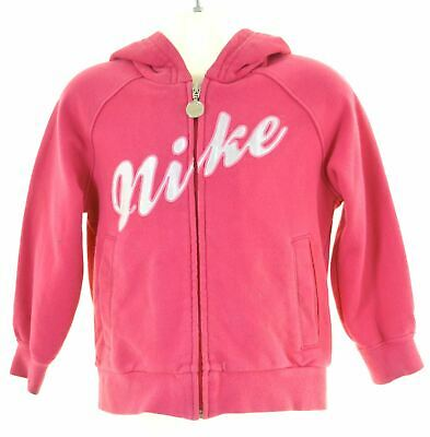 NIKE Girls Hoodie Sweater 3-4 Years XS Pink Cotton  BY13