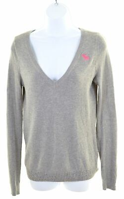 ABERCROMBIE & FITCH Girls V-Neck Jumper Sweater 13-14 Years Large Grey  CB13