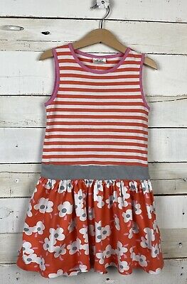 Girls MINI BODEN Sz 5 6y Sleeveless Floral Stripe Sun Dress Orange Pink White