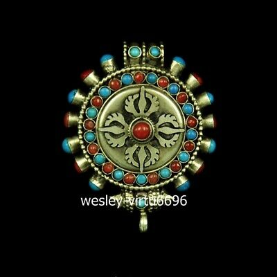 Tibet Buddhism Temple Silver Inlay Turquoise Coral Gawu Box Pendant shrine niche