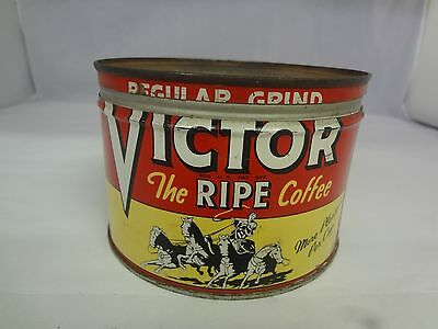 Vintage  Victor Brand Coffee Tin Advertising Collectible   131-Y