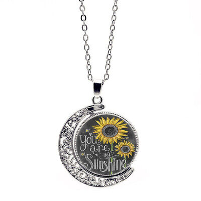 """you are my Sunshine"" Letter Print Moon Pendant Sunflower Necklace for Women"