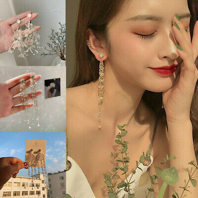 Drop Dangle Tassel Stud Rhinestone Ear Jewelry Gift Long Crystal Women Earrings