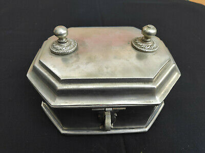 Old White Brass Octagonal Shape Paan Dan/Betel Nut Box With Knobs on Top