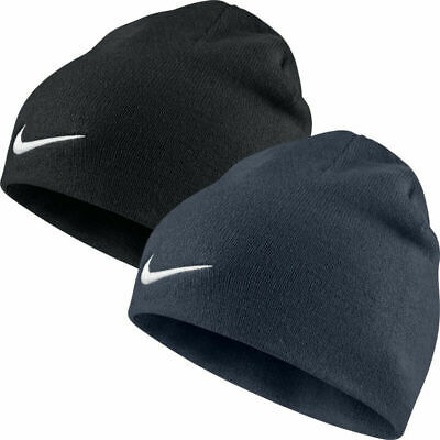 Nike Hat Unisex Team Performance Beanie Winter Sports Knitted Swoosh Black Navy