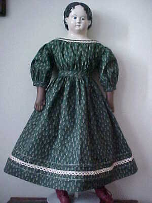 """Antique Repro Holiday Print Dress For 25-30"""" Paper Mache, China, Bisque Doll"""