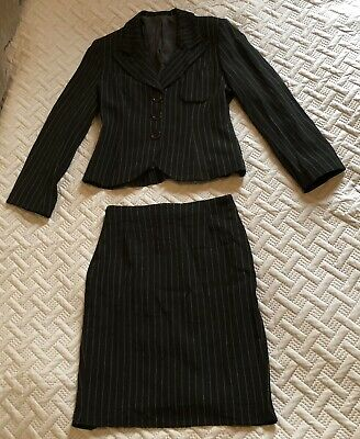 Vintage HOBBS Size 12 Black Pinstripe Skirt Suit 100% Pure Wool