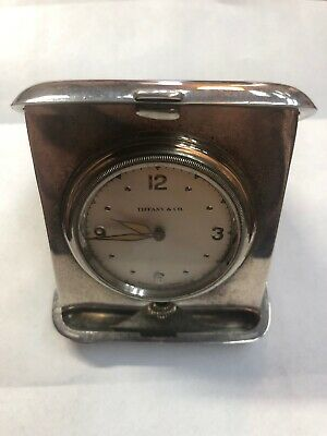 Vintage TIFFANY & CO. STERLING SILVER 8 DAY TRAVEL CLOCK Works Good
