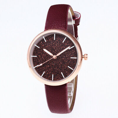 Women Casual Watch Dial PU Leather Lady Gift Band Analog Quartz Wrist Watches