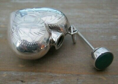 Gorgeous Sterling Silver & Onyx Heart Shaped Chatelaine Scent Perfume Bottle
