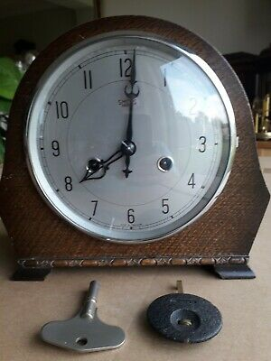 Vintage Smiths Wind-Up Mantel Clock  with Key and Pendulum (Working)