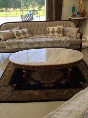 Vintage Wood French Empire Coffee Table Marble Cocktail Table Oval