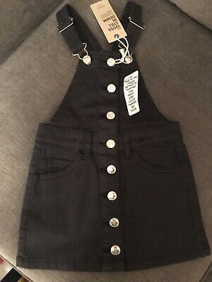M And S Black Pinafore Dungaree Dress Brand New 3-4 With Tags