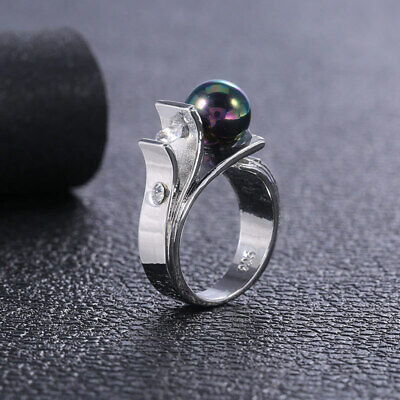 Rings Black Silver Wedding Jewelry Cut 925 Round Women Size Fashion Pearl 6-10