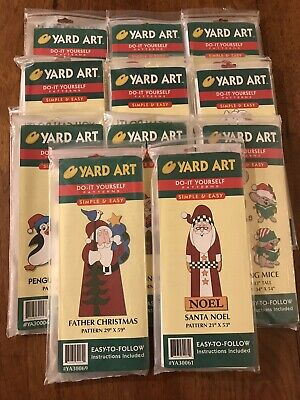 Lot of 11 Yard Art Patterns Santa Snowman Snowlady Puppies Mice Penguins