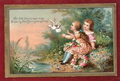 Victorian Two Children with Dove  Christmas New Year  Greeting  Card