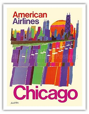Chicago Illinois Midwest Skyline American Airlines Art Poster Print Giclée