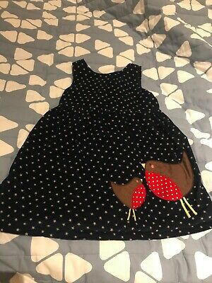 Mini Boden girls cord pinnafore dress. Navy with star and robin detail. Age 2-3