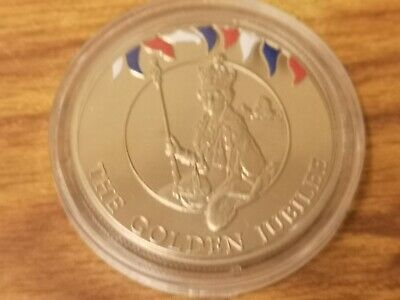 2002 Falkland Islands 50p Fifty pence crown coin : Golden Jubilee