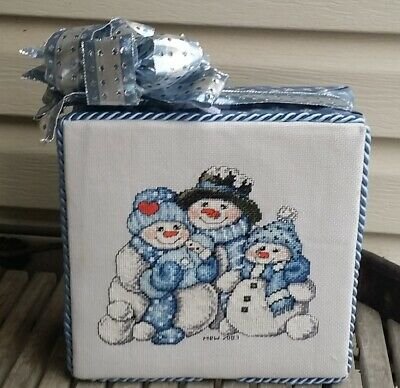 Finished Complete Winter Christmas Cross Stitch stand up SNOWMAN FAMILY