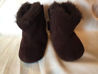 Baby Gap Brown Suede Girls Bow Booties  3-6 Months