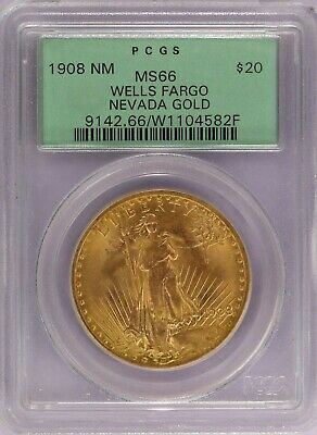 1908 No Motto PCGS Wells Fargo Nevada Gold $20 Double Eagle St Gaudens MS66 OGH