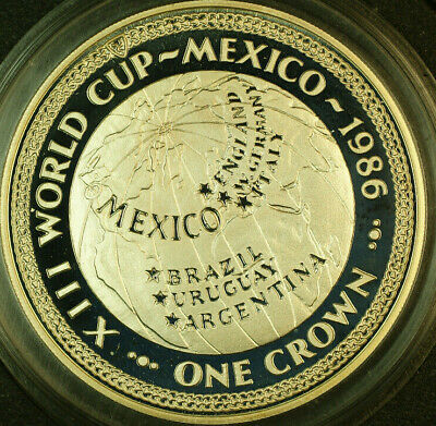 1986 Isle of Man 1 Crown Commemorative Mexico World Cup 13 1oz Silver Proof Coin