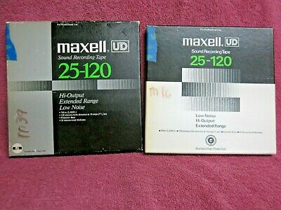 "2 Reels MAXELL UD 25-120 2400 Ft 7""  Recording Tape to open reel"