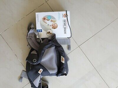 Ergobaby Cool Air Mesh Baby Carrier in Grey & original cotton infant insert