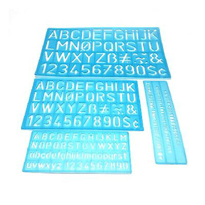 4PCS/Set Numbers Letters Guides Template Drawing Ruler Alphabet Stencil Drafting