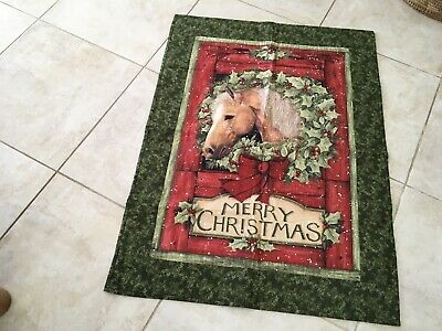 christmas Panel With Batting And Backing - Horse - 32 X 44 Inches