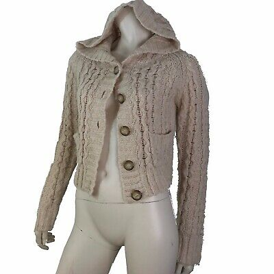 Free People Sweater Women Size Medium Catdigan Cropped Cable Knit Hooded Beige