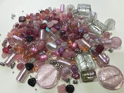 Pretty Pink White Foil  Bead Mix