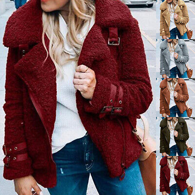 Womens Winter Fleece Fluffy Zip Coat Biker Jackets Outwear Jumper Sweater Ladies