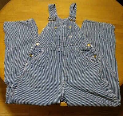 Vintage LEE Bib Overalls Men's Size 32x30 USA Button Fly Striped Sanforized