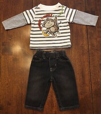 Kids Headquarters Baby Boy Long Sleeve Shirt & Jeans - SIZE 3-6 MONTHS