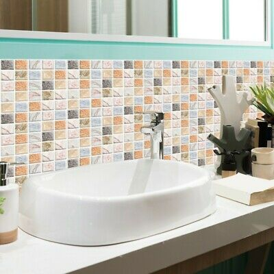 Vintage Stylish Self-adhesive Bath Kitchen Wall Stair Floor Tile Stickers 10pcs