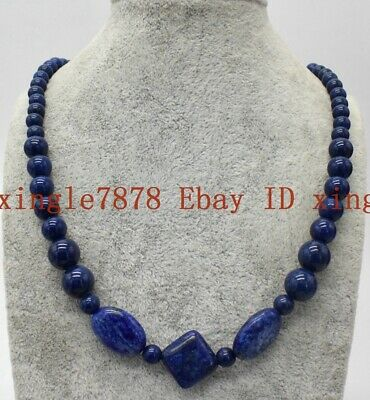 "Real Natural Blue Egyptian Lapis Lazuli Gemstone Beads Necklace 20"" AAA"