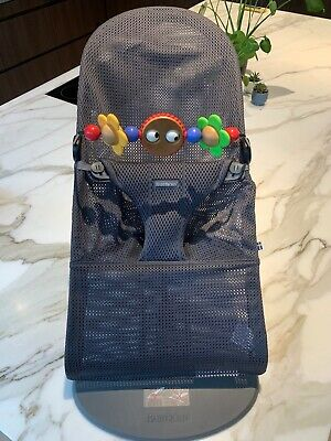 Baby Bjorn Bouncer Bliss Air Anthracite Grey Mesh RRP$220 with toy bar RRP$70