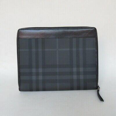pre-loved authentic BURBERRY canvas/leather Zip Around TABLET CASE $750