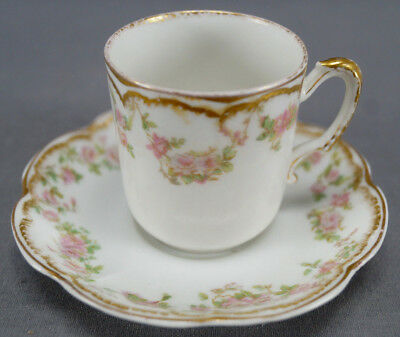 Haviland Limoges Schleiger 270 Pink Rose Swag Double Gold Demitasse Cup & Saucer