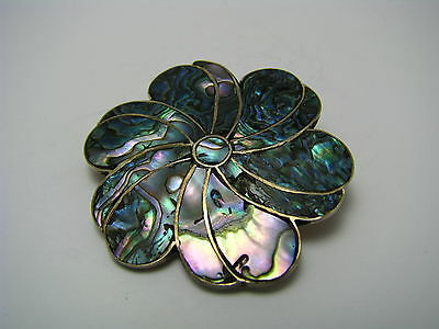 ARTISAN STERLING SILVER PENDANT BROOCH PIN ABALONE SHELL Taxco Mexico ca1960s